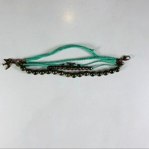 Green Braided Multistrand Bronze Beaded Bracelet